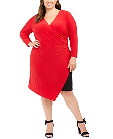 Plus Size Faux-Wrap Asymmetric Sheath Dress