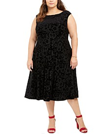 Plus Size Cap-Sleeve Velvet Burnout A-Line Dress