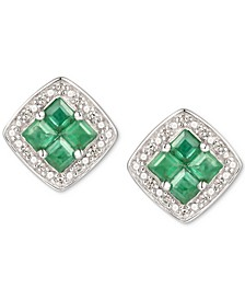 Emerald (3/8 ct. t.w.) & Diamond (1/20 ct. t.w.) Stud Earrings in Sterling Silver