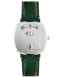 Grip Green Leather Strap Watch 35mm