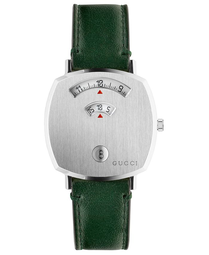 Gucci - Unisex Grip Green Leather Strap Watch 35mm