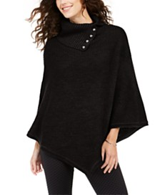 Michael Michael Kors Shaker Poncho with MK Dome Buttons