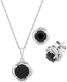 2-Pc. Set Onyx (6 & 8mm) & Diamond Accent Pendant Necklace & Matching Stud Earrings in Sterling Silver