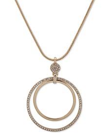 """Gold-Tone Pavé Double-Hoop Pendant Necklace, 16"""" + 3"""" extender"""