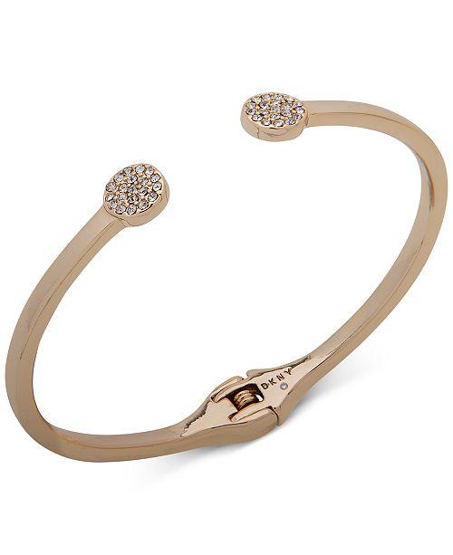 DKNY Gold-Tone Pavé Disc Cuff Bracelet