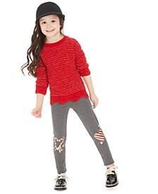 Little Girls Scalloped Sweater & Heart Leggings, Created For Macy's