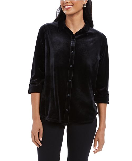 Charter Club Petite Button-Front Velvet Top, Created For Macy's