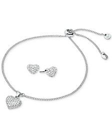 Sterling Silver Pavé Puffed Heart Slider Bracelet & Stud Earrings Set