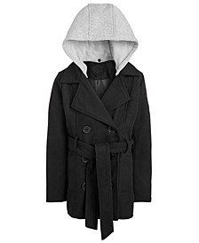 Big Girls Hooded Belted Peacoat