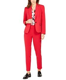 Single-Button Stretch Blazer, Floral-Print V-Neck Top & Stretch Slim-Fit Pants