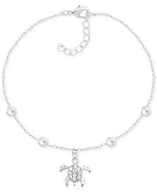 Crystal Sea Turtle Anklet in Fine Silver-Plate