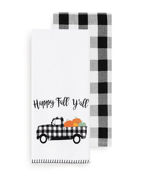Elrene Happy Fall Y'all and Check Kitchen Towel Set