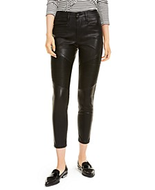 Faux Leather High-Rise Moto Ankle Pants