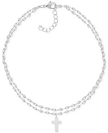 Two-Row Mirror Chain Cross Fine Silver Plate Anklet
