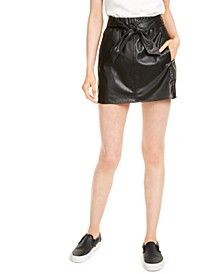 Faux-Leather Tie-Waist Miniskirt