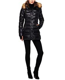 Chelsea High-Shine Faux-Fur-Trim Hooded Down Puffer Coat