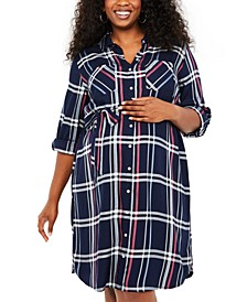 Plus Size Plaid Shirtdress