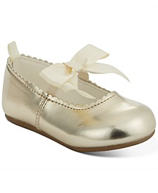 Baby Girls Gold Scalloped Bow Shoes, Created For Macy's