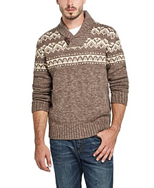 Men's Jacquard Shawl Collar Sweater