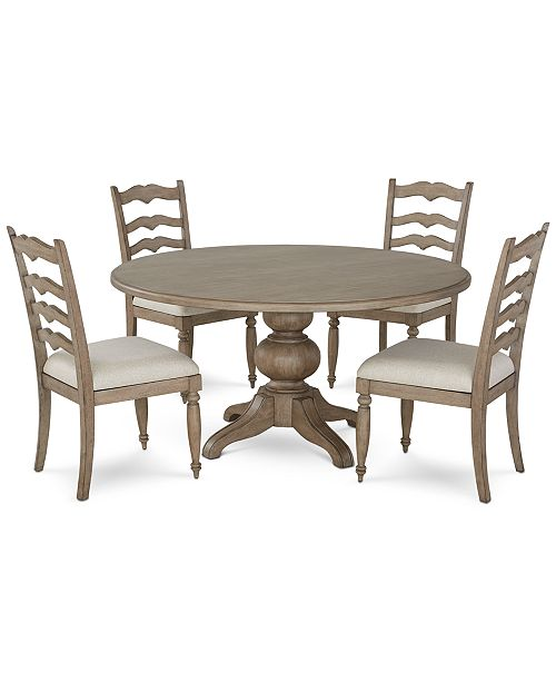 Ellan Round Dining Furniture, 5-Pc. Set (Table & 4 Side Chairs), Created  For Macy\'s