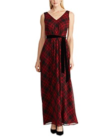 Tartan Plaid Georgette Gown
