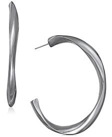 "Hematite-Tone Sculpted Open Medium Hoop Earrings, 2"", Created For Macy's"