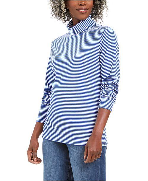 Karen Scott Petite Striped Turtleneck Top, Created For Macy's