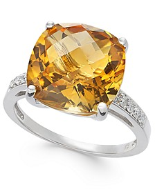 Citrine (7 ct. t.w.) & Diamond (1/10 ct. t.w.) Statement Ring in Sterling Silver