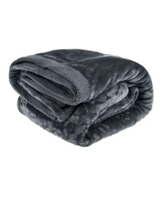Silky Soft Plush Blanket with Corduroy Trim, King