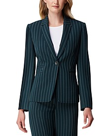 Petite Striped Single-Button Blazer