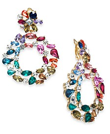 INC Gold-Tone Pavé & Multicolor Stone Circle Clip-On Drop Earrings, Created For Macy's