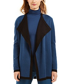 Drapey Wide-Lapel Open-Front Cardigan