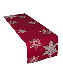 """Glisten Snowflake Embroidered Christmas Table Runner, 16"""" x 70"""""""