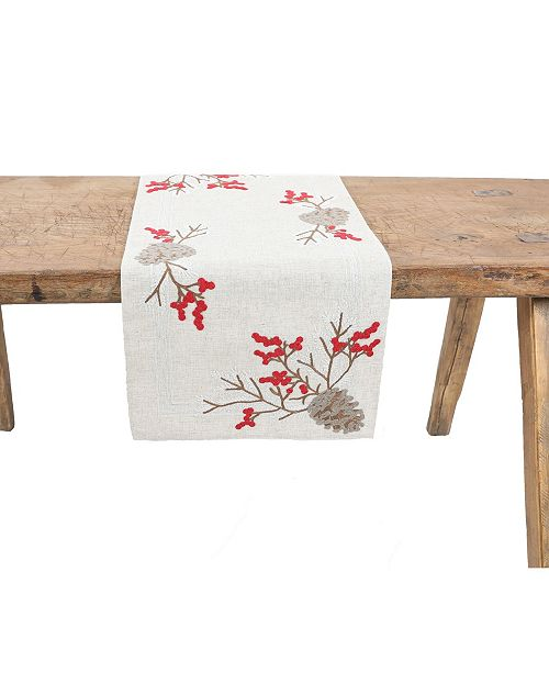 Manor Luxe Christmas Pine Cone Crewel Embroidered Table Runner