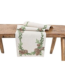 Winter Pine Cones and Branches Crewel Embroidered Table Runner