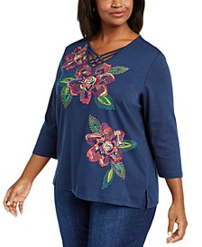 Plus Size Road Trip Embroidered 3/4-Sleeve Top