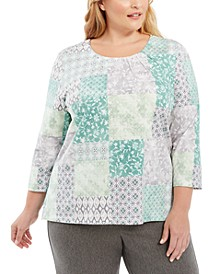 Plus Size Lake Geneva Beaded Pattern-Blocked Top