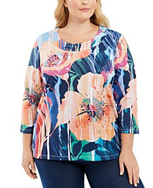 Plus Size Road Trip Printed Embellished 3/4-Sleeve Top