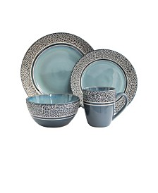 Jay Imports Mosaic Blue 16 Pc Dinnerware Set