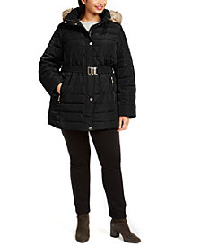 Michael Michael Kors Plus Size Hooded Belted Puffer Coat With Faux-Fur Trim