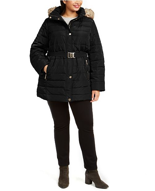 Michael Kors Plus Size Hooded Belted Puffer Coat With Faux-Fur Trim