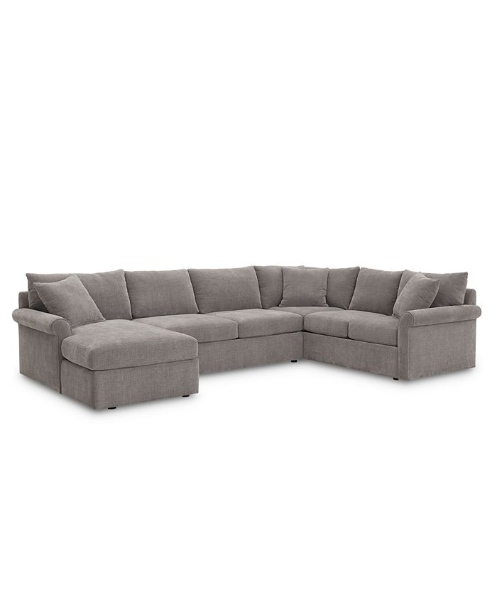 Furniture - Wedport 3-Pc. Fabric Sofa Return Sectional Sofa with Chaise
