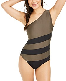 Colorblocked One-Shoulder One-Piece Swimsuit, Created for Macy's