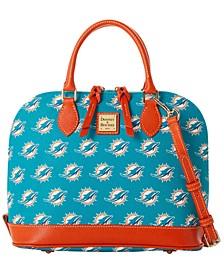 Miami Dolphins Saffiano Zip Satchel