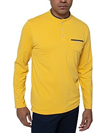 Men's Solid Long Sleeve Henley