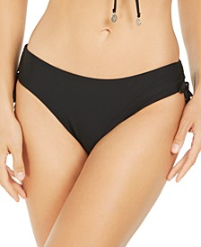 Solid Ruched-Side Bikini Bottoms