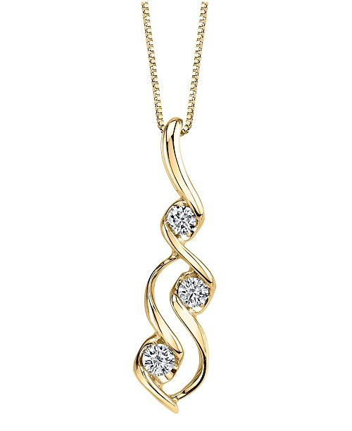Sirena Diamond (1/10 ct. t.w.) Three Stone Pendant in 14k Yellow Gold or Rose Gold