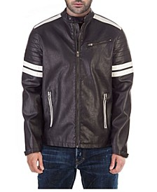 Moto Jacket with White Stripe