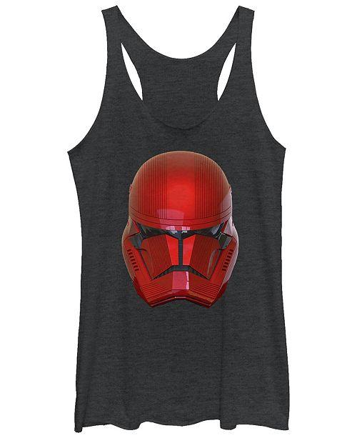 Star Wars Women's Rise of Skywalker Red Sith Trooper Big Face Helmet Racerback Tank Top