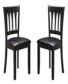 Slatted High Back Dining Chair, Set of 2